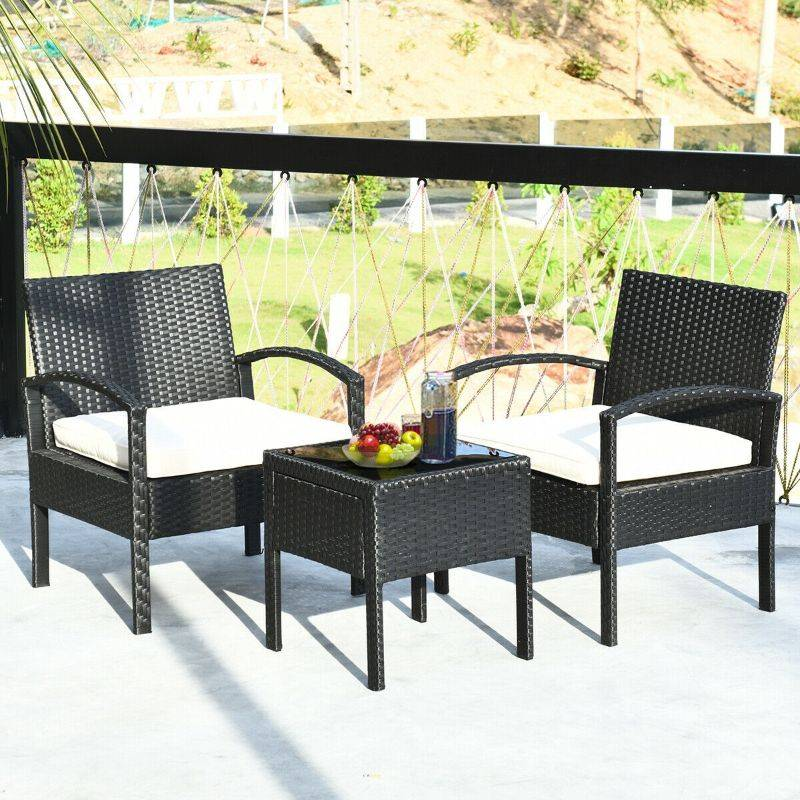 Generic Rattan Patio Furniture - 2 Cushioned Chairs With Garden Table