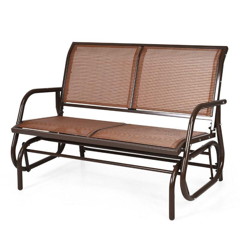 "Generic Outdoor 48"" Swing Glider Loveseat Rocker Chair for Patios, Gardens, and Decks"
