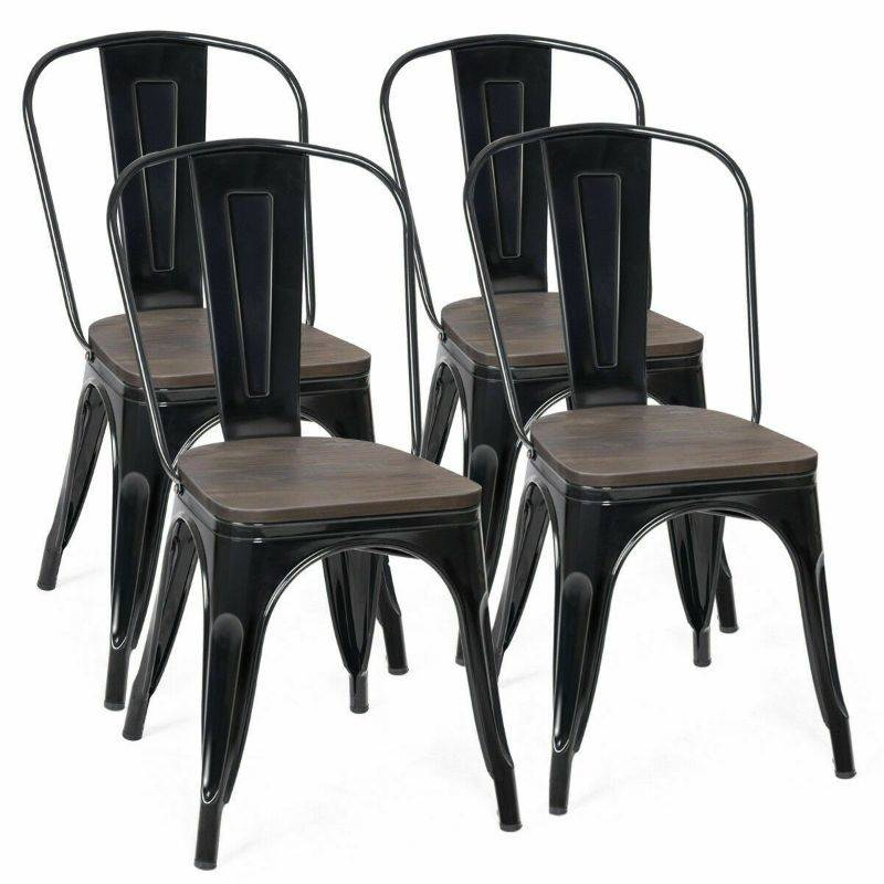 Generic Set of 4 Stackable Tolix Style Metal Wood Dining Chair