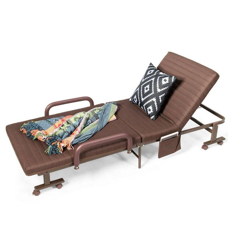 Generic Indoor & Outdoor Portable Lounge Chair With Wheels, Adjusts to Single Bed