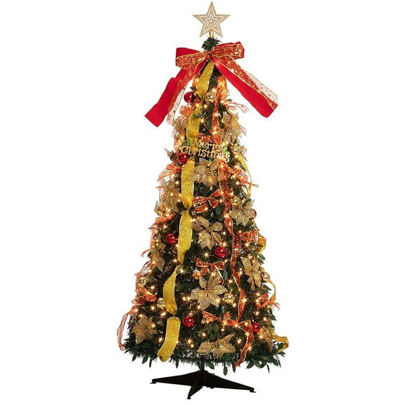 Generic 6 Foot Pull Up Christmas Tree with 350 Lights and Accessories Installed