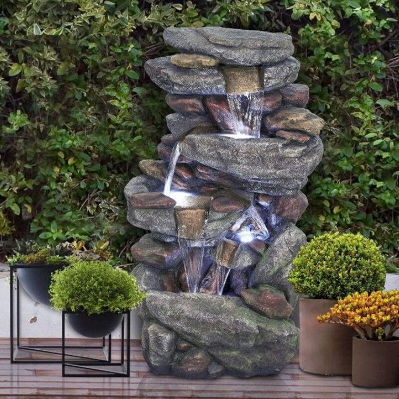 Generic Outdoor Garden Fountain Rock Waterfall Water Fountain w LED Lights
