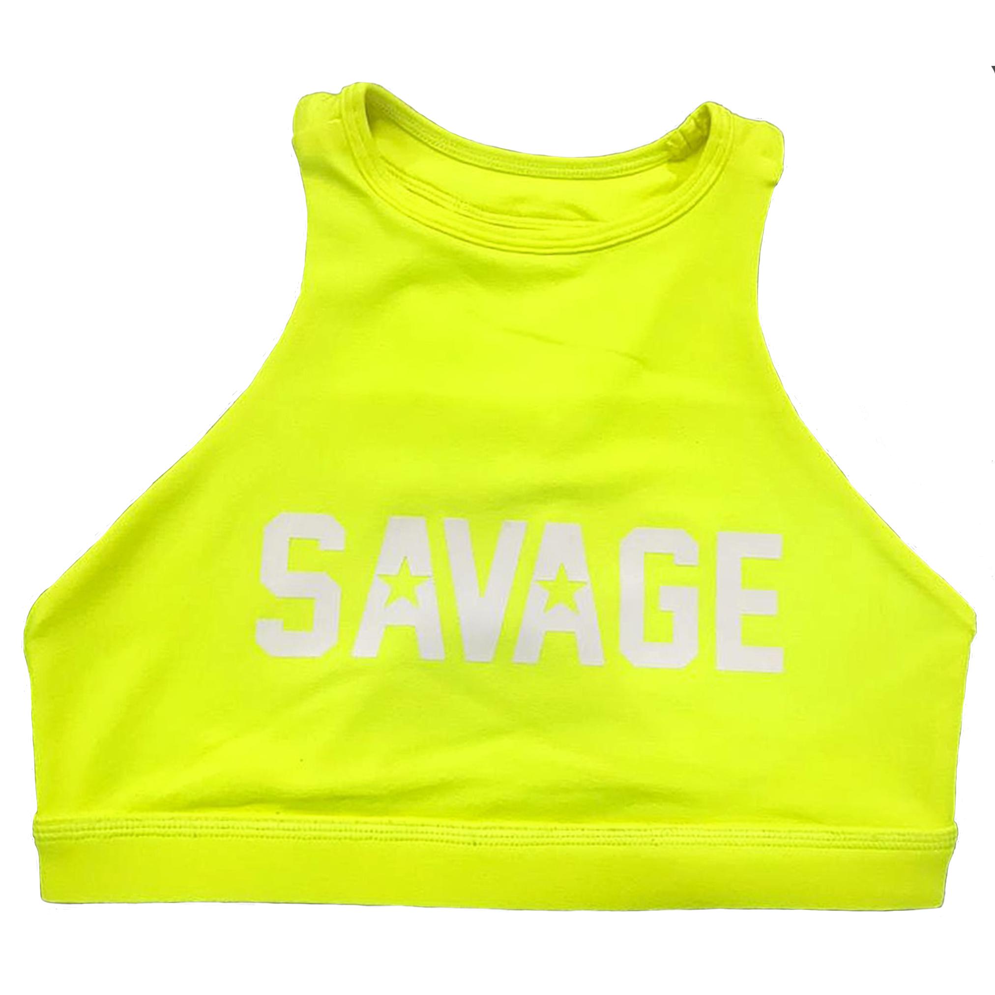 Savage Barbell Sports Bra - High Neck Glow Stick