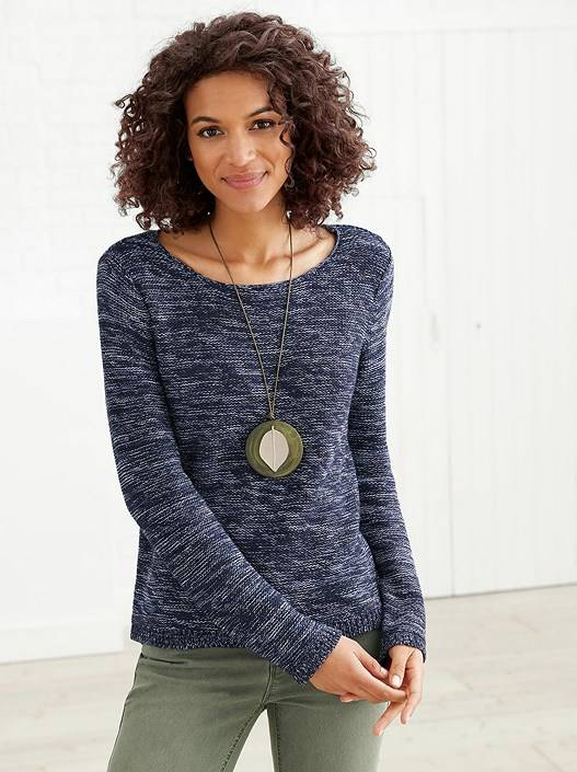 creation L Rounded Neckline Sweater  - Blue - Size: 12
