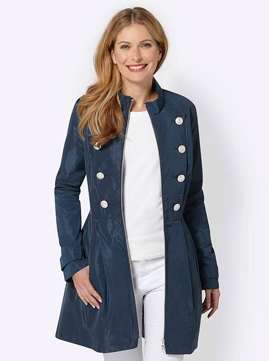 creation L Figure Shaping Long Jacket  - Blue - Size: 16