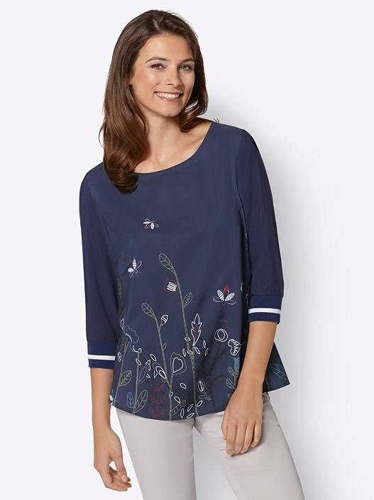 creation L 3/4 Sleeve Garden Print Blouse  - Blue - Size: 18