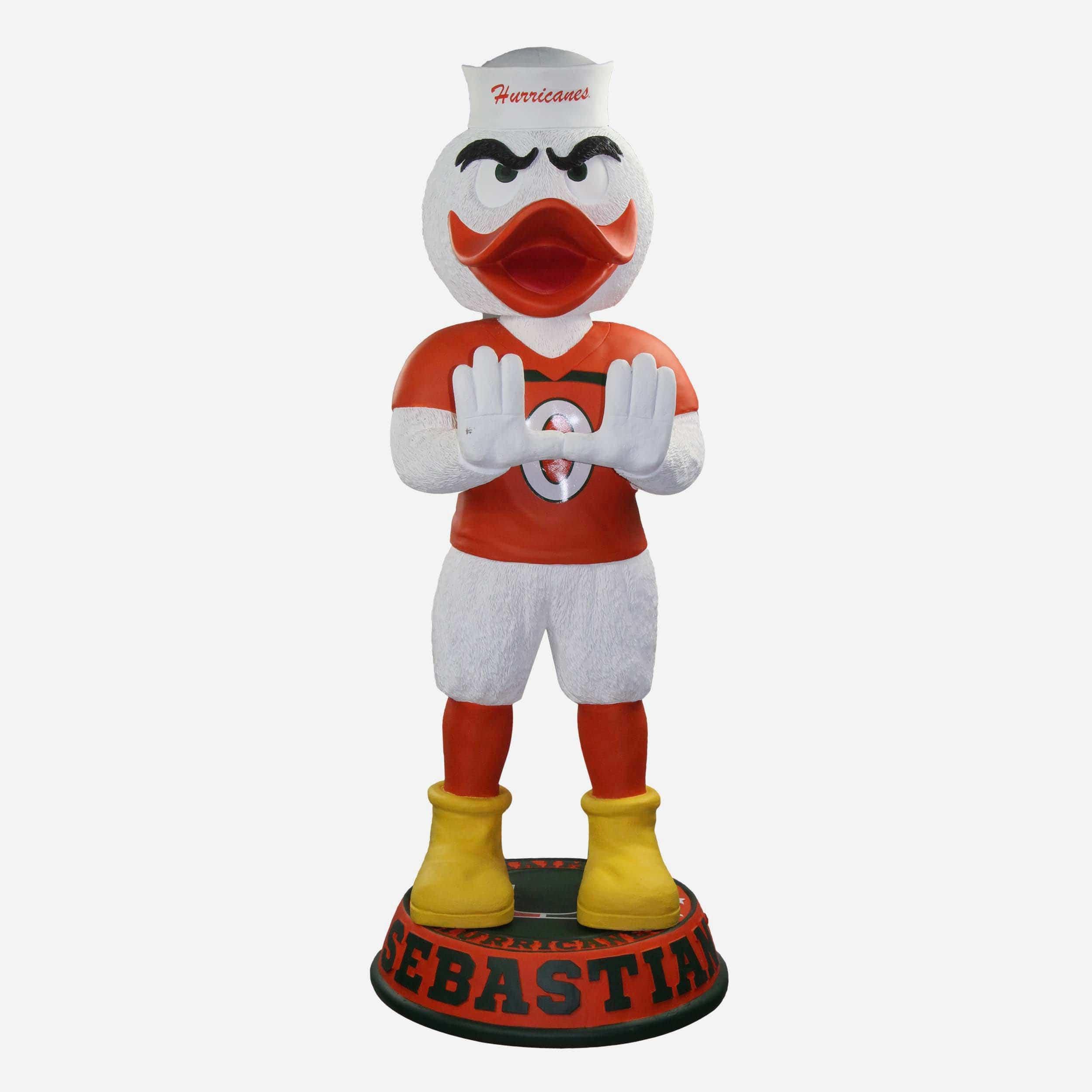 FOCO Sebastian Miami Hurricanes Orange Jersey 3 Ft Mascot Bobblehead