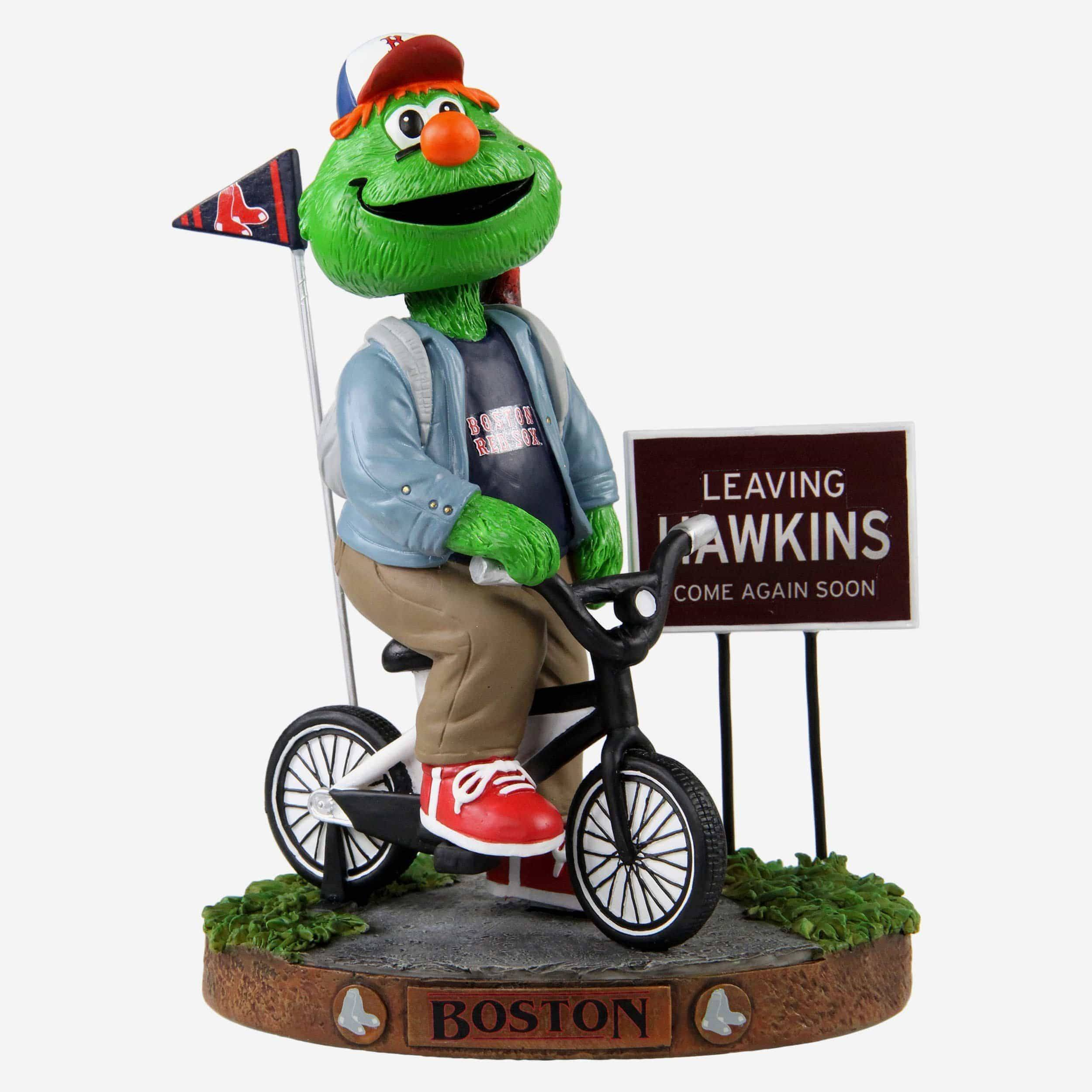 FOCO Wally The Green Monster Boston Red Sox Stranger Things Mascot On Bike Bobblehead