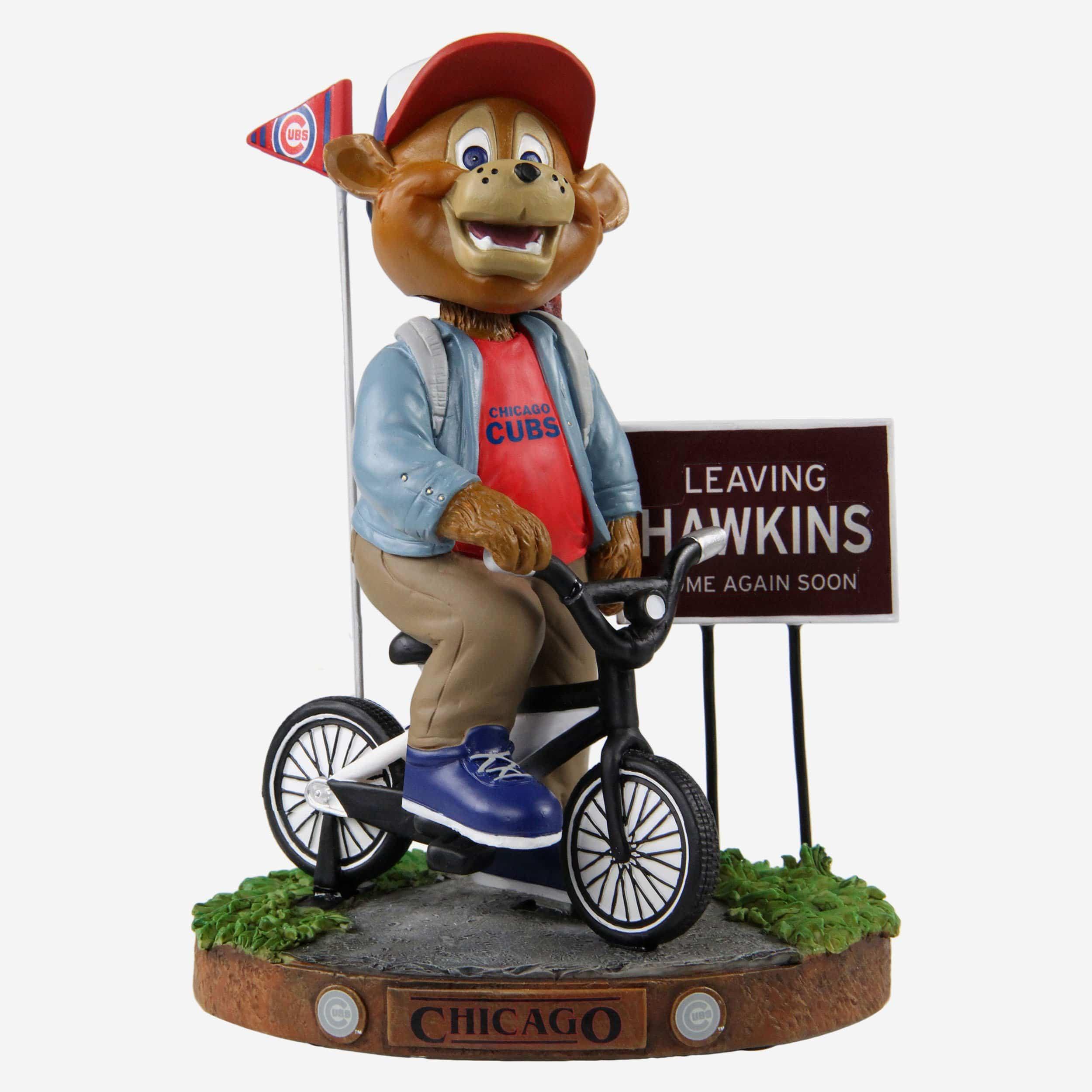 FOCO Clark Chicago Cubs Stranger Things Mascot On Bike Bobblehead