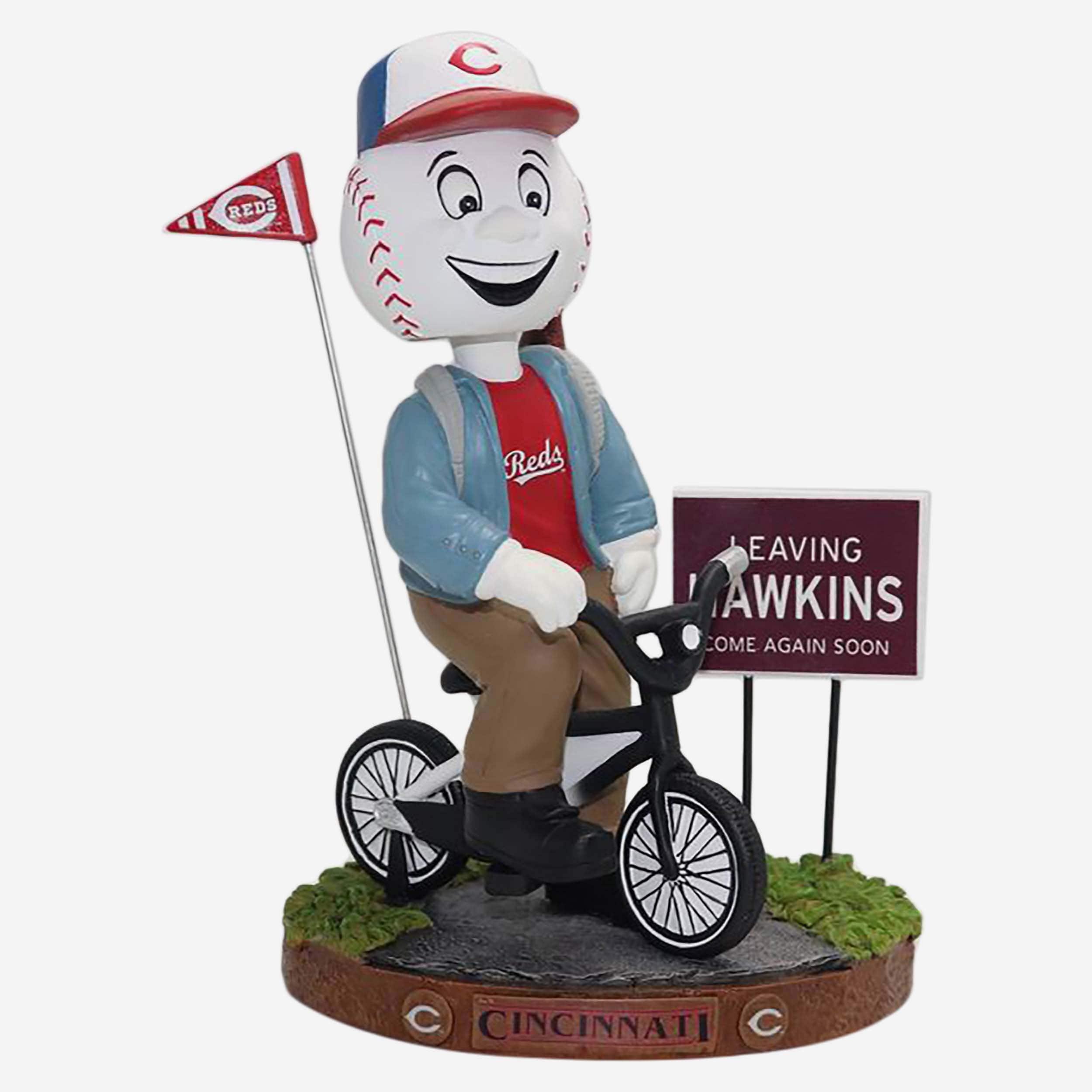 FOCO Mr Redlegs Cincinnati Reds Stranger Things Mascot On Bike Bobblehead