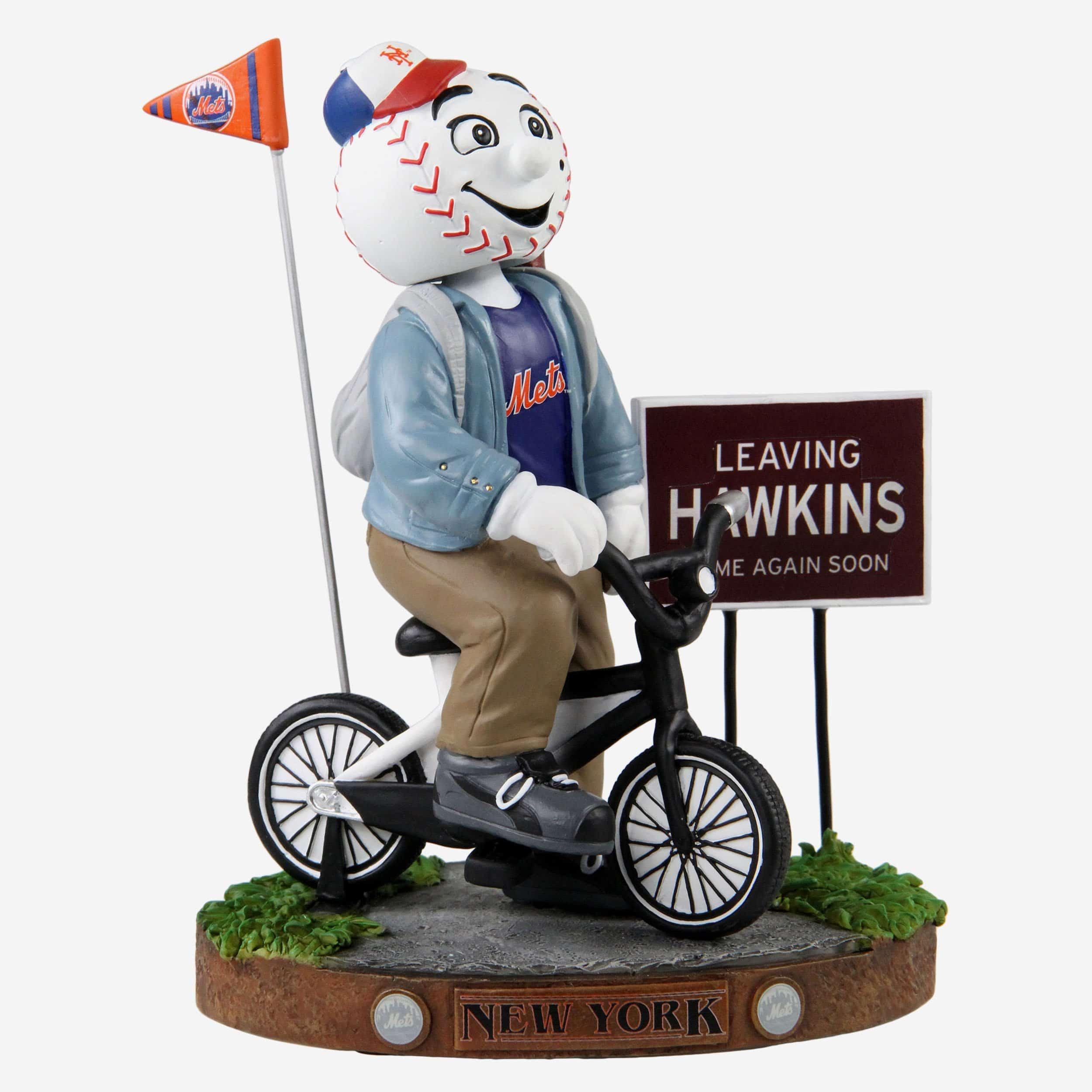 FOCO Mr Met New York Mets Stranger Things Mascot On Bike Bobblehead