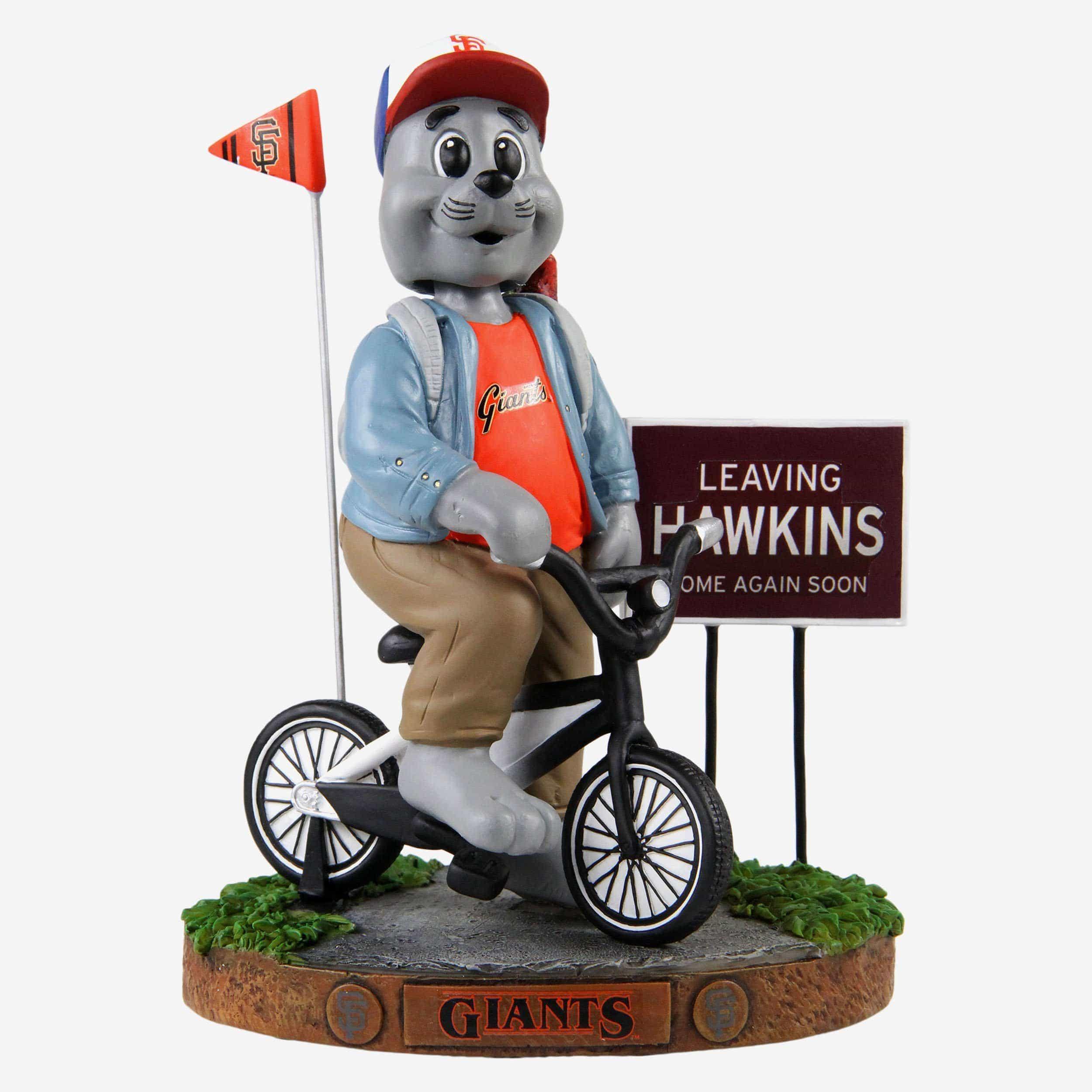FOCO Lou Seal San Francisco Giants Stranger Things Mascot On Bike Bobblehead