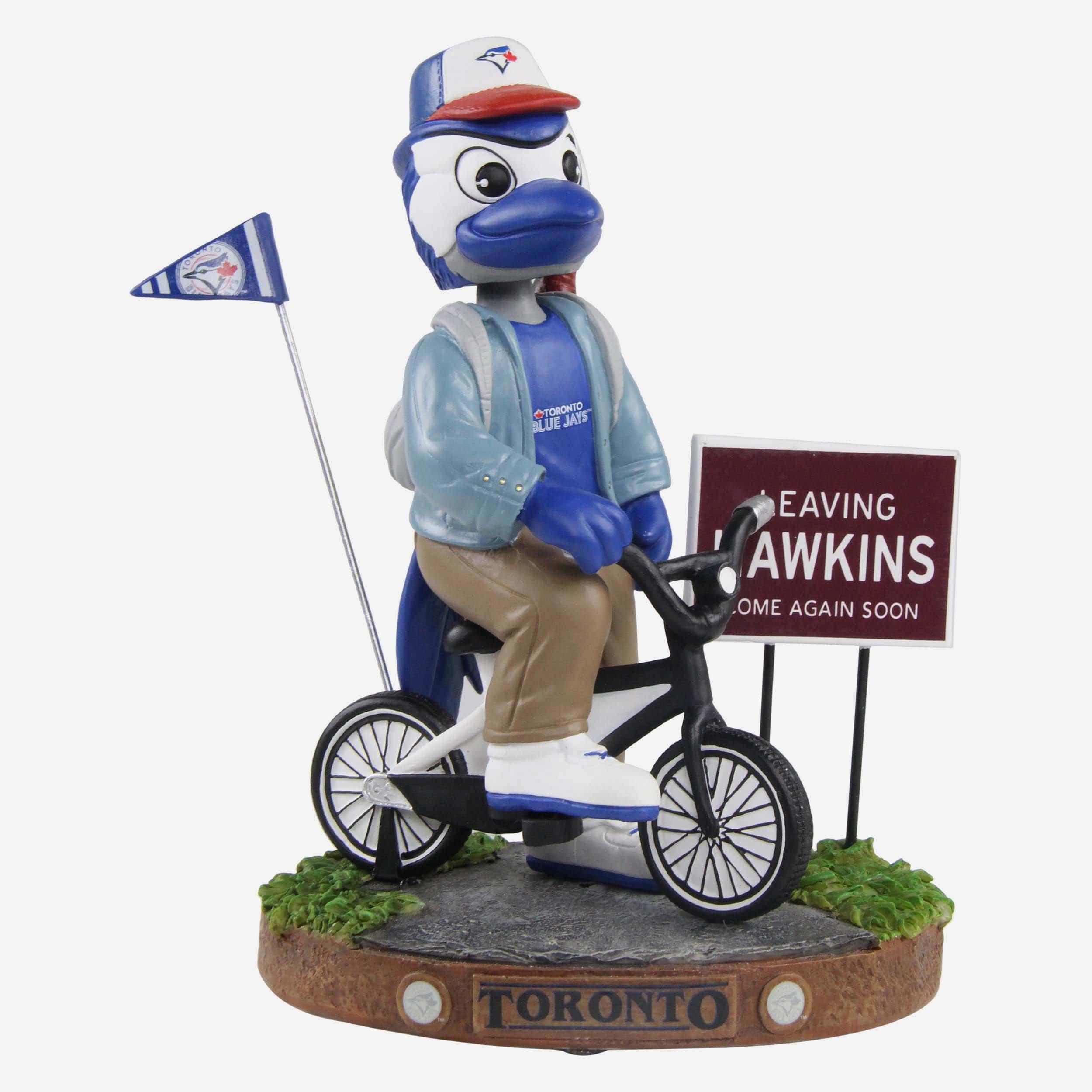 FOCO Ace Toronto Blue Jays Stranger Things Mascot On Bike Bobblehead