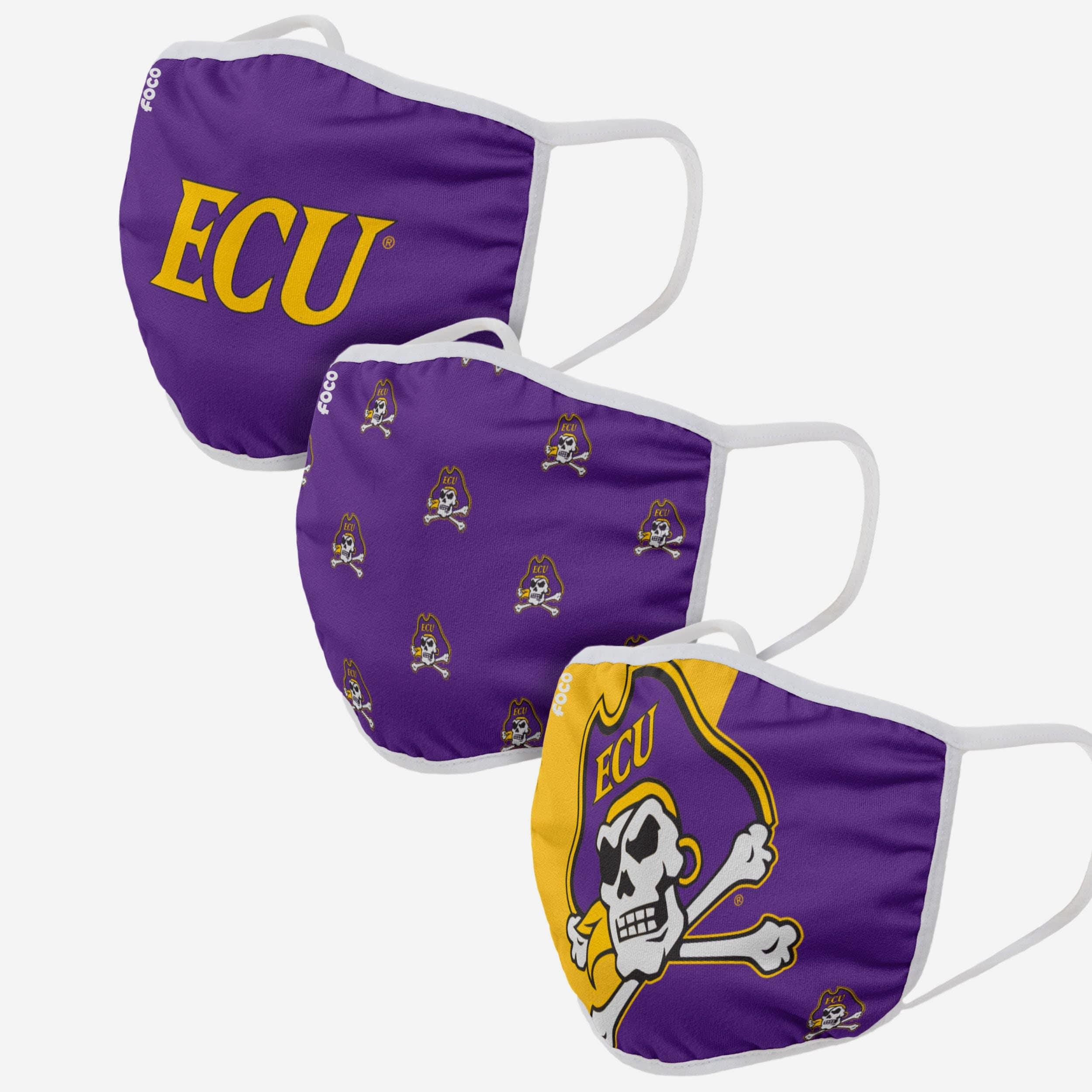 FOCO East Carolina Pirates 3 Pack Face Cover