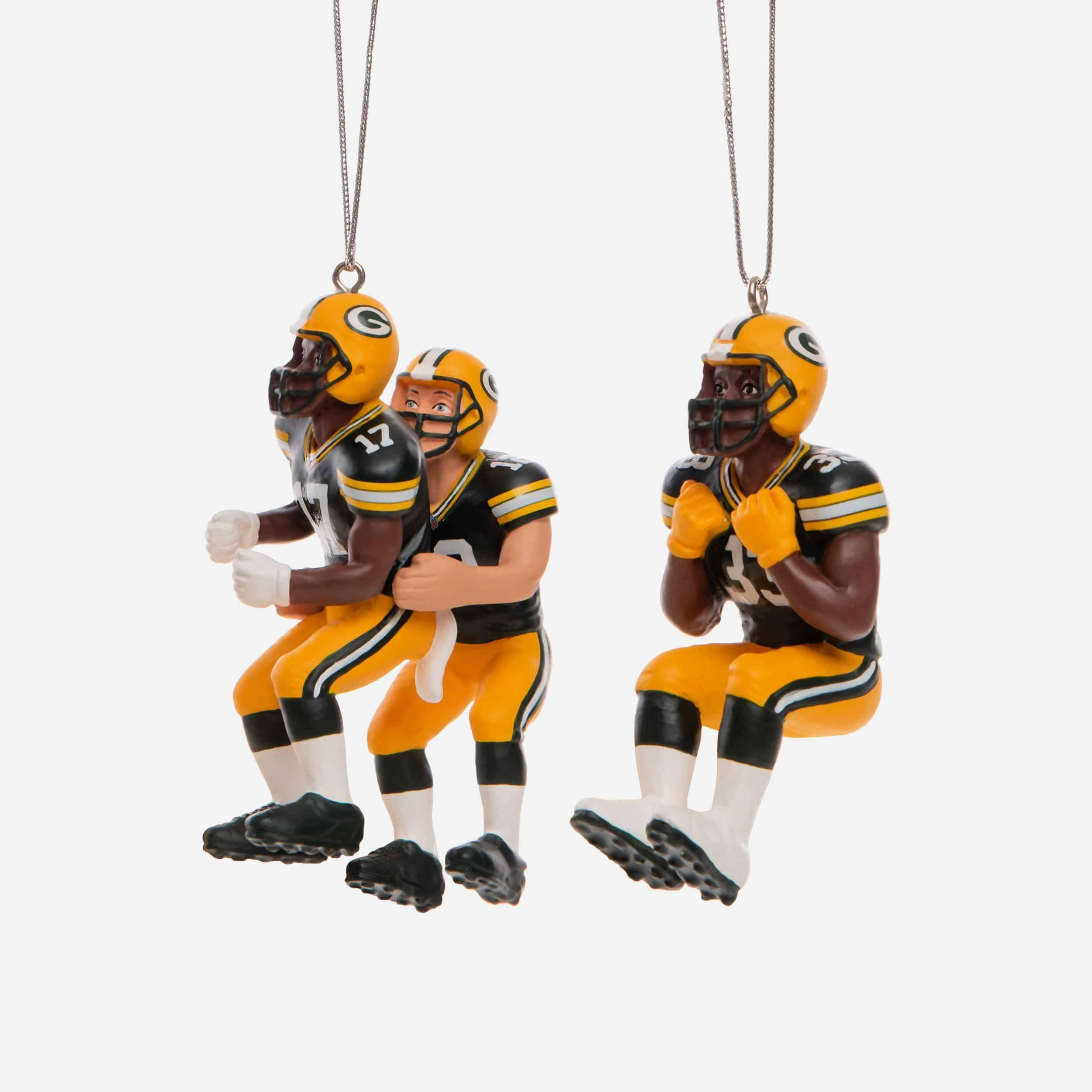 FOCO Green Bay Packers 3 Player Team Celebration Ornament