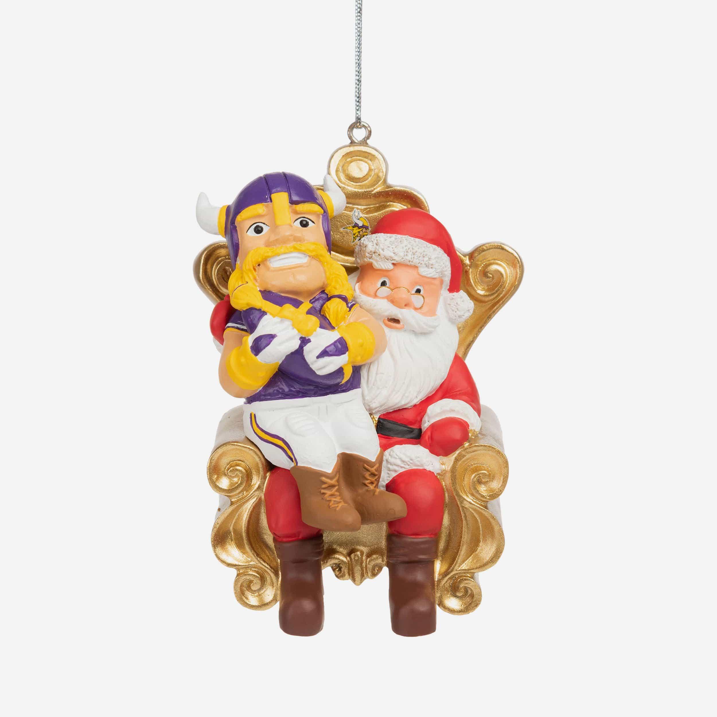 FOCO Viktor the Viking Minnesota Vikings Mascot On Santa's Lap Ornament