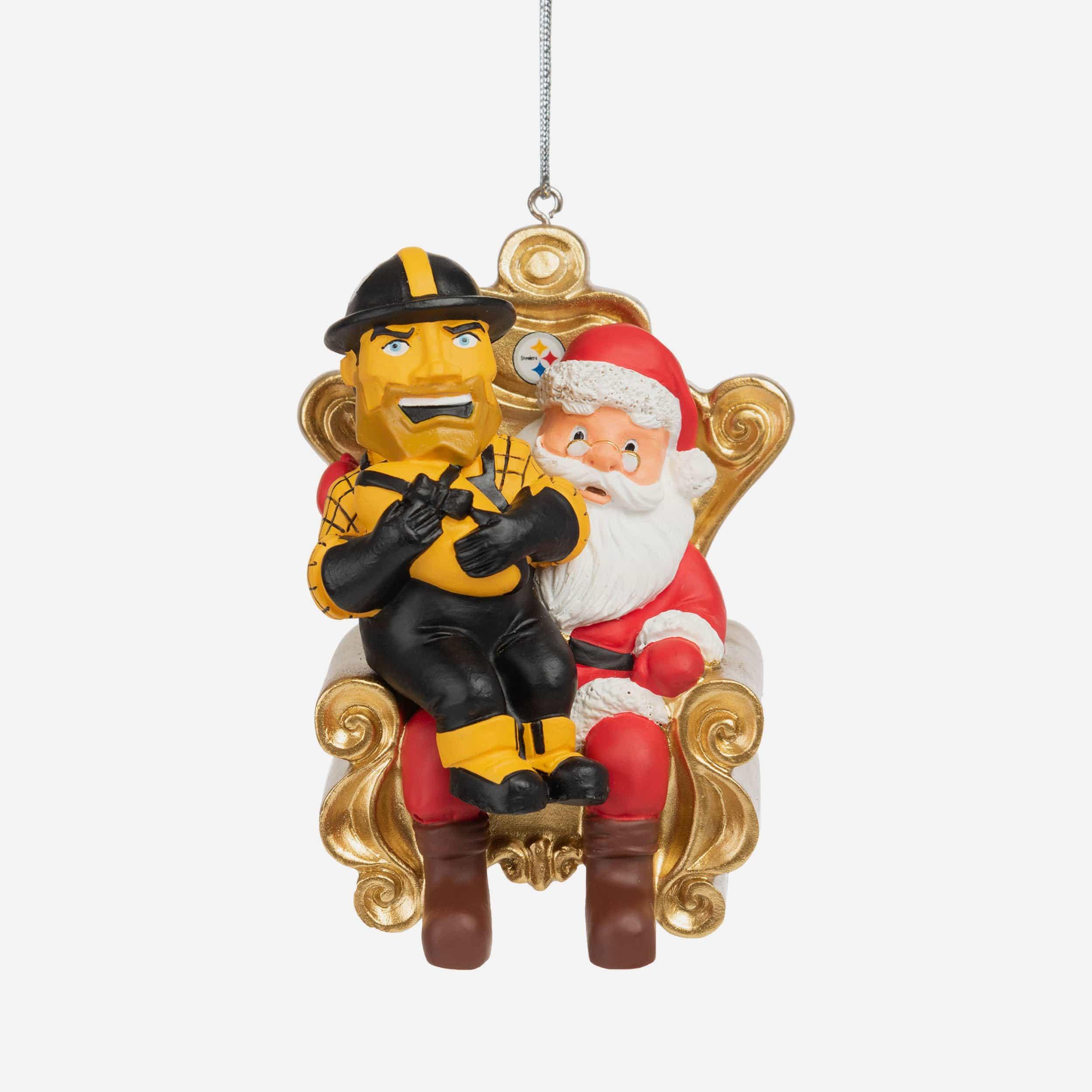 FOCO Steely McBeam Pittsburgh Steelers Mascot On Santa's Lap Ornament