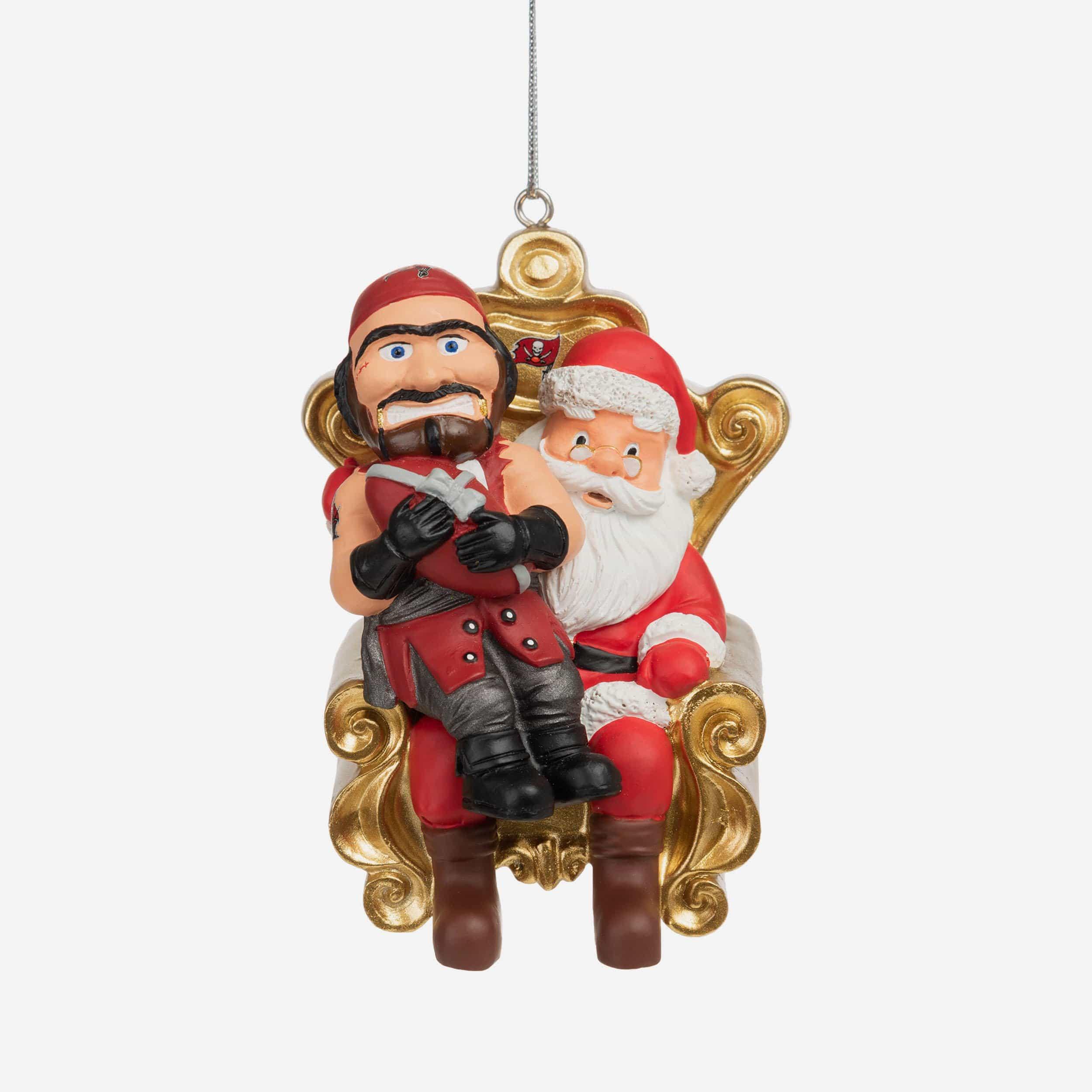 FOCO Captain Fear Tampa Bay Buccaneers Mascot On Santa's Lap Ornament