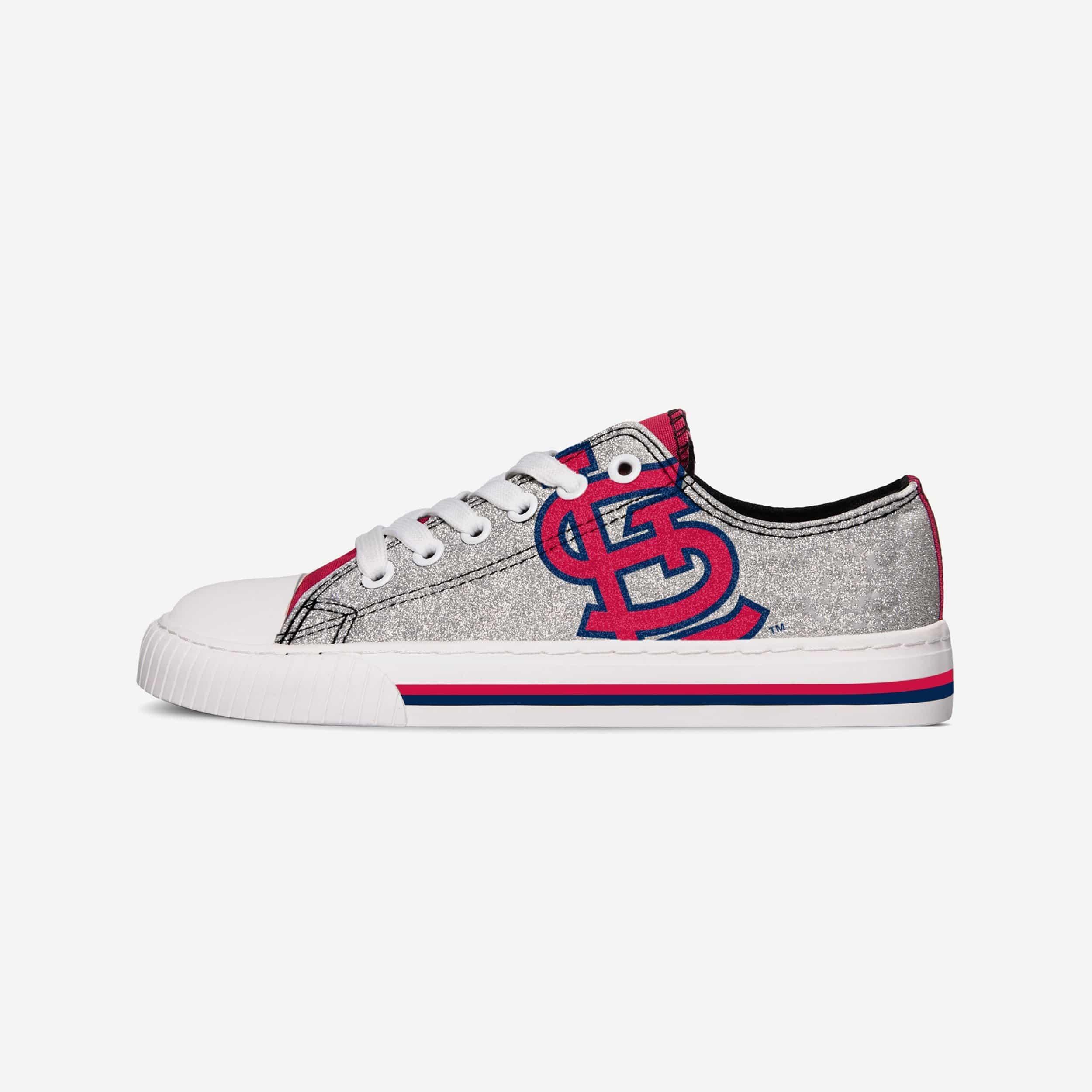FOCO St Louis Cardinals Womens Glitter Low Top Canvas Shoes - 8