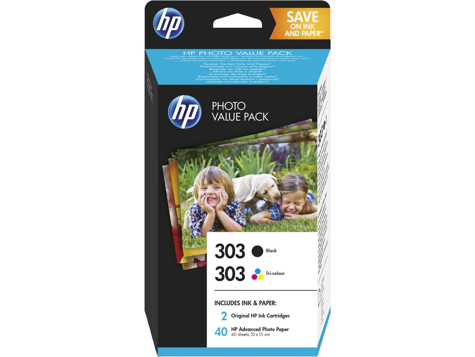 HP 303 Tri-Color Black, Cyan, Magenta, Yellow Ink Cartridge with Glossy 4x6 Photo Value Pack - 40 Sheets