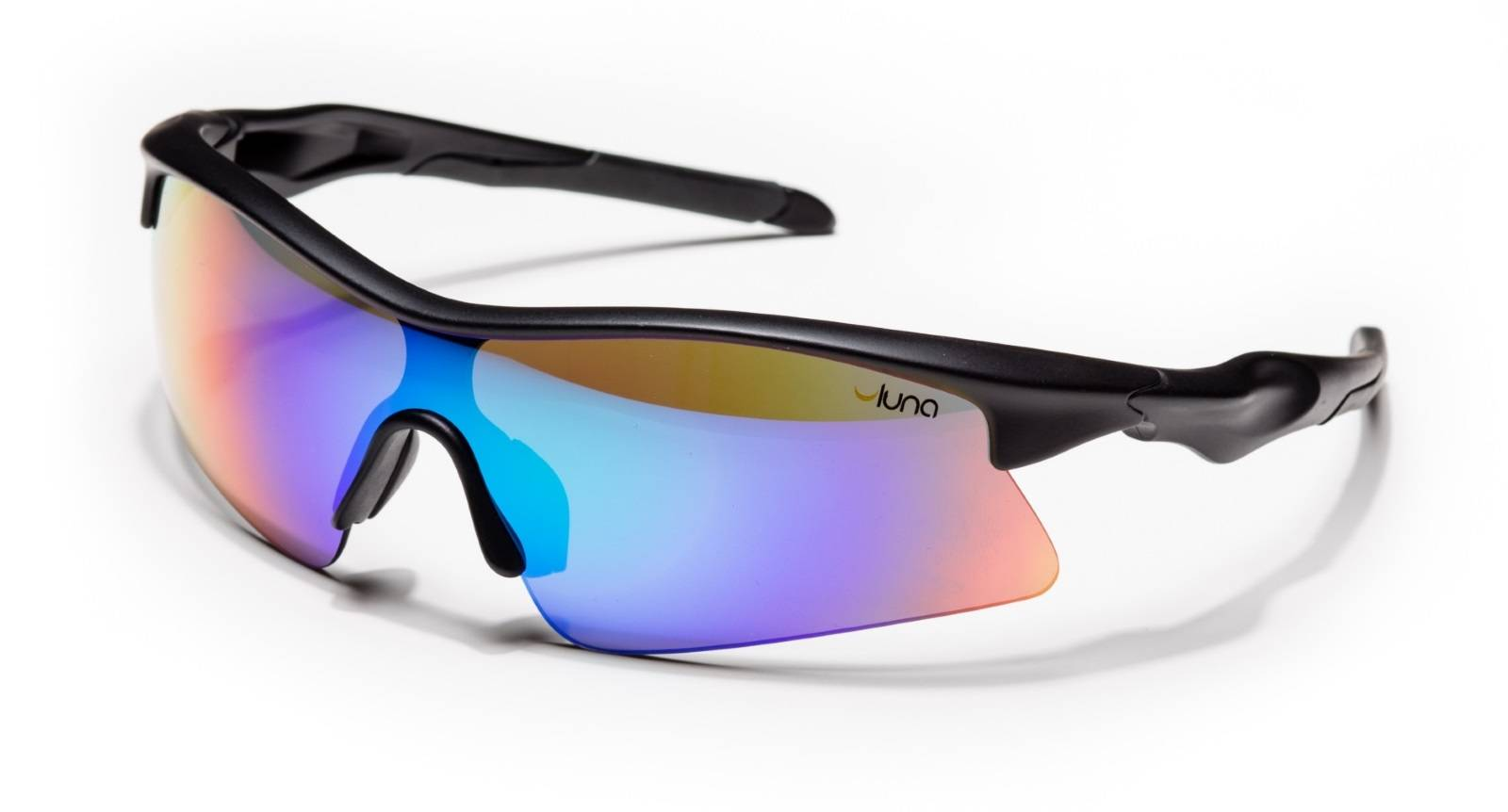 Luna Glasses Luna Eclipse Running Cycling Sunglasses with Hard Protective Case (Mirrored Aquamarine Lenses, Black Frame)