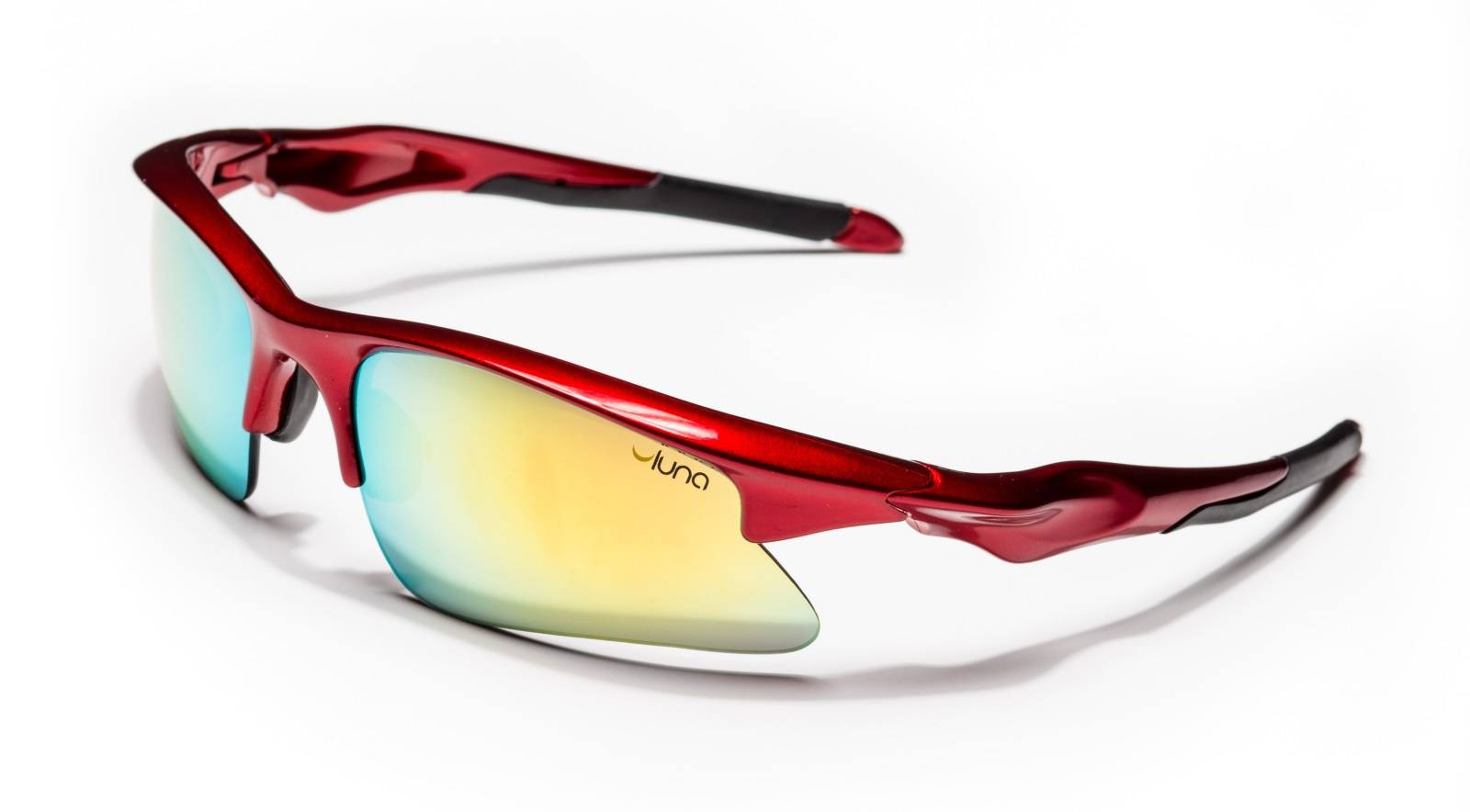 Luna Glasses Luna Mars Running Cycling Sunglasses with Hard Protective Case (Mirrored Gold Lenses, Deep Red Frame)