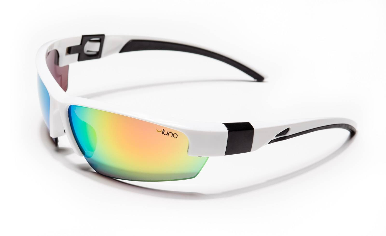 Luna Glasses Luna Mercury Running Cycling Sunglasses with Hard Protective Case (Mirrored Lenses, White/Black Frame)