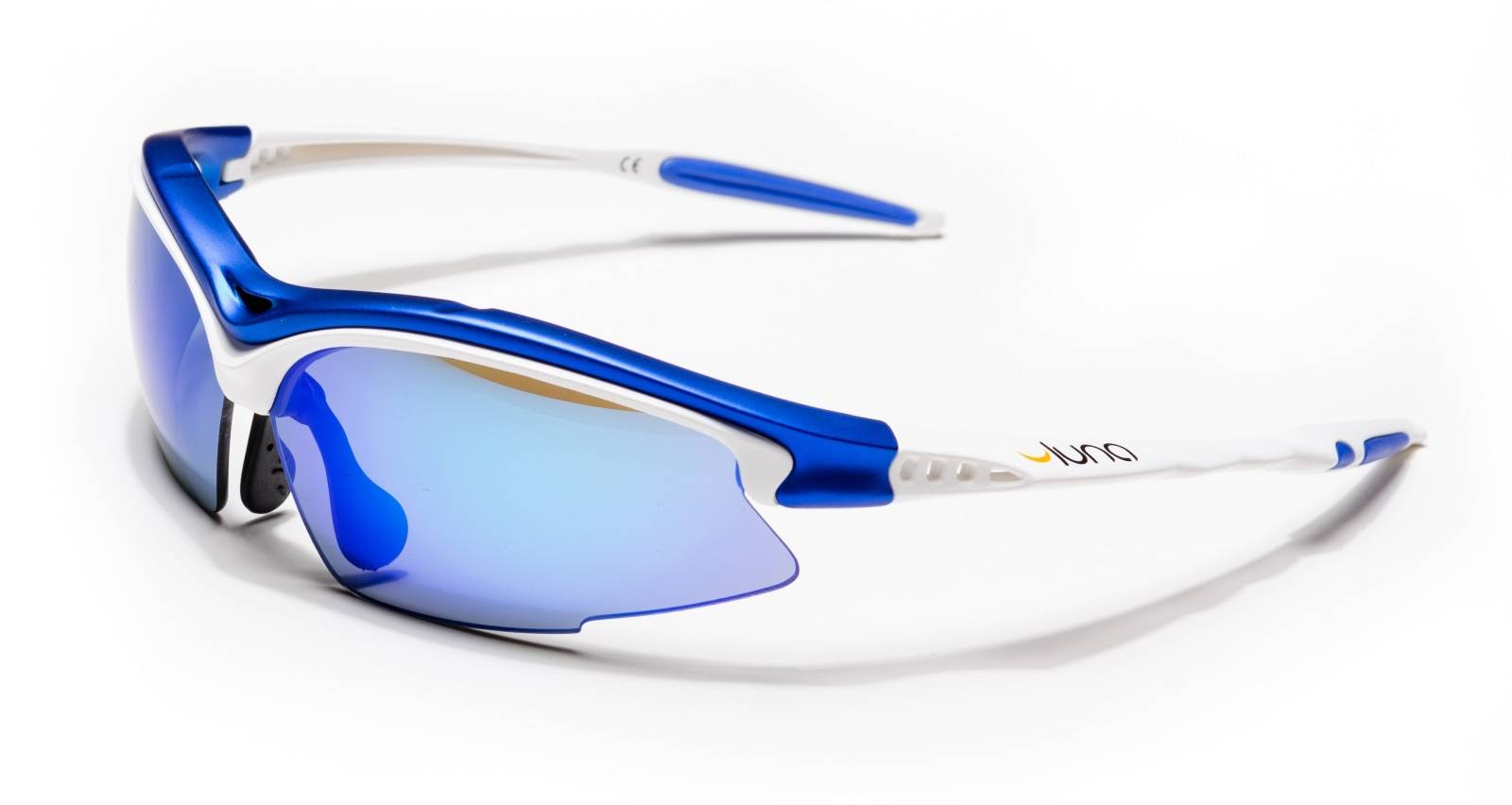 Luna Glasses Luna Sky Running Cycling Sunglasses with Hard Protective Case (Mirrored Blue Lenses, White/Blue Frame) with Gray Interchangeable Lenses