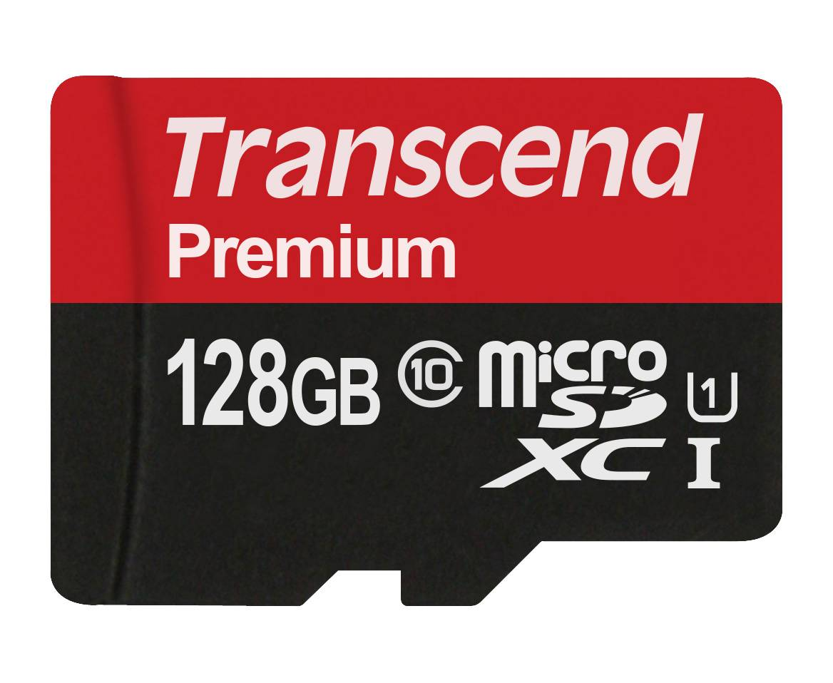 Transcend 128GB Transcend Premium microSDXC CL10 UHS-1 Mobile Phone Memory Card with SD Adapter