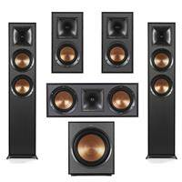 Klipsch 2x R-625FA Dolby Atmos Floor Standing Speaker - R-41M Bookshelf Home Speakers (Pair) - Reference R-52C Two-Way Center Channel Speaker - R-120SW Subwoofer