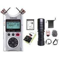 Tascam DR-40X Four-Track Digital Audio Recorder and USB Audio - With Music Trends Mini Shotgun Cardioid Microphone
