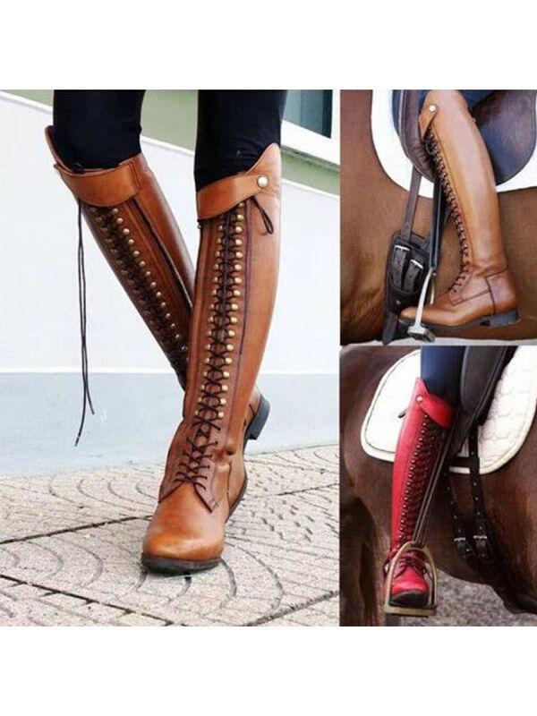 1 Plain  Flat  Round Toe  Date Outdoor  Knee High Flat Boots