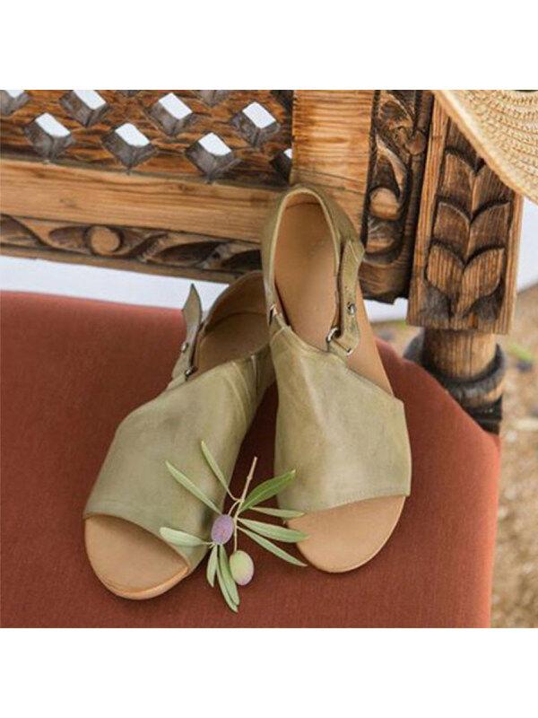 1 Plain  Flat  Peep Toe  Date Outdoor Flat Sandals
