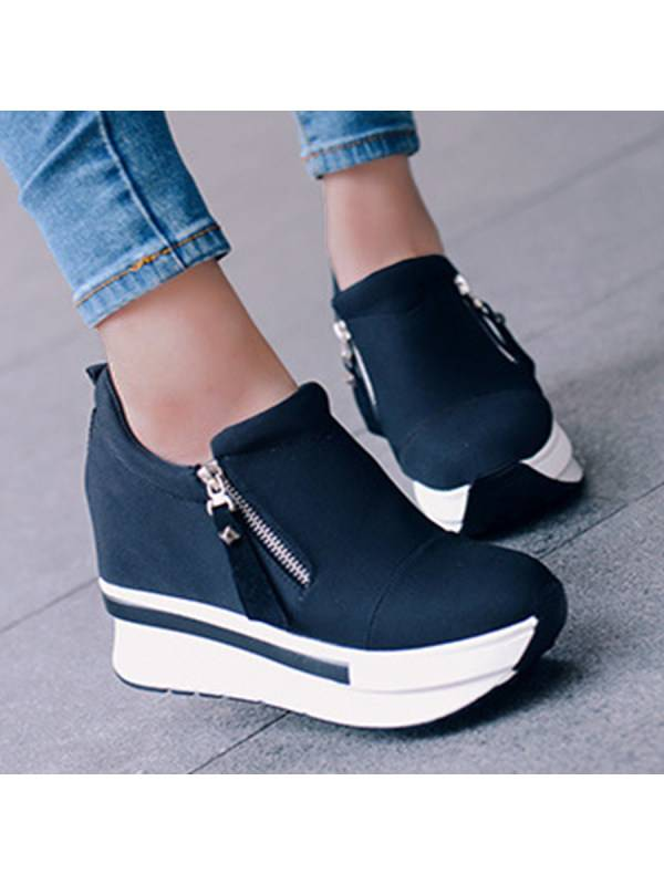 1 Plain  High Heeled  Elastic  Round Toe  Casual Sport Sneakers