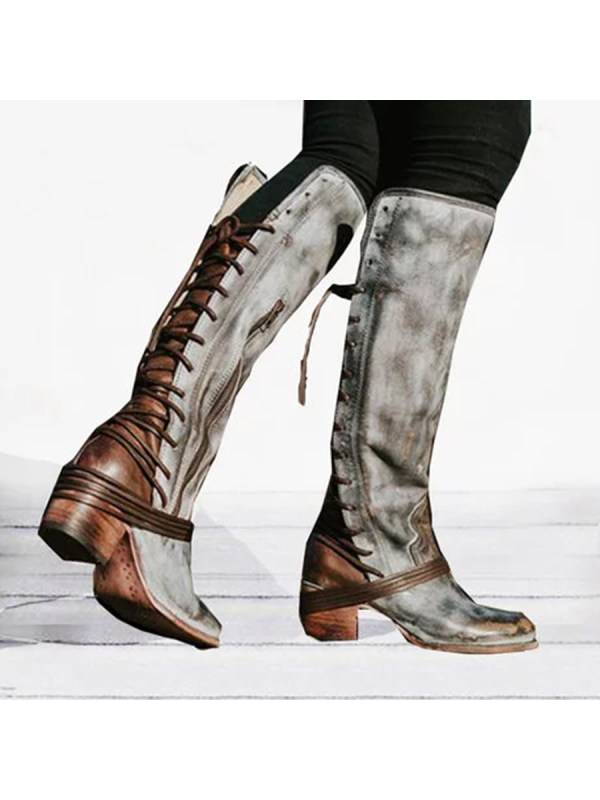 1 Plain  Round Toe  Casual Outdoor  Knee High High Heels Boots