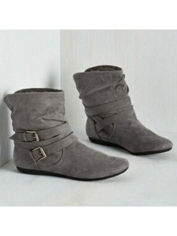 1 Plain  Flat  Velvet  Round Toe  Casual Outdoor Flat Boots
