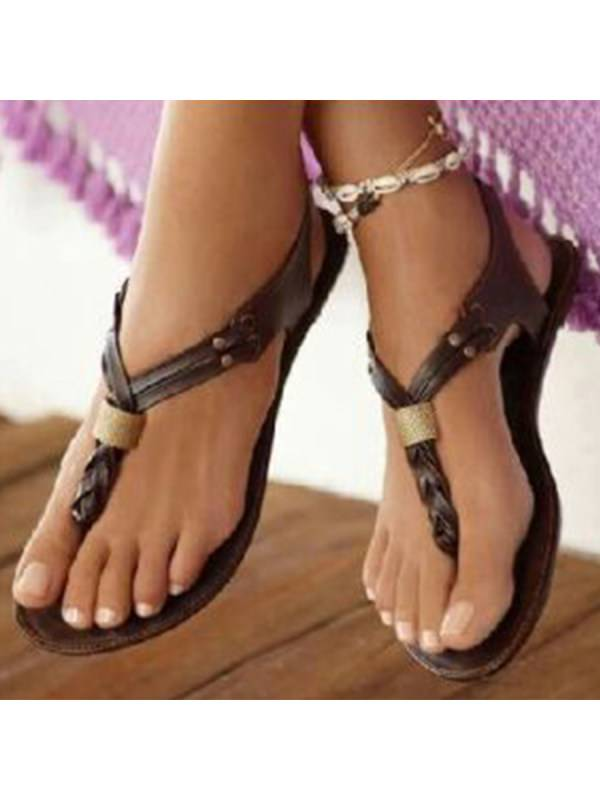 1 SOCOFY Plain  Flat  T Strap  Peep Toe  Casual Outdoor Gladiator Sandals