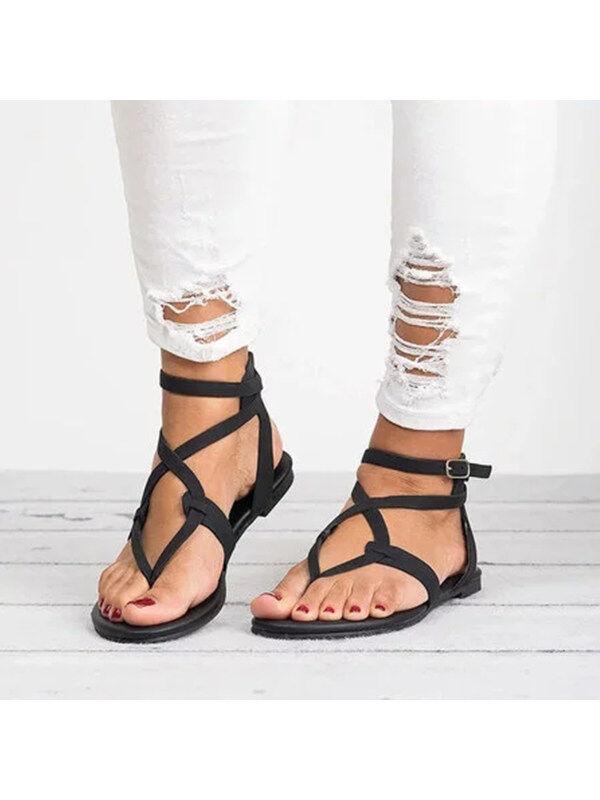 1 Large Size Adjustable Buckle Flat PU Sandals Woman Shoes