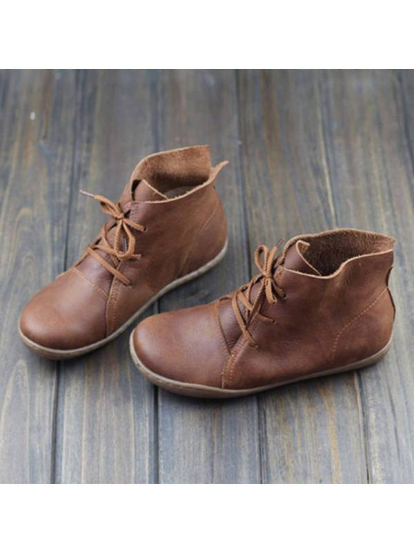 1 Plain Flat Round Toe Casual Outdoor  Flat Boots