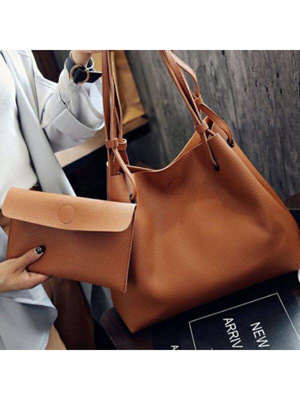 1 Two Pieces Chic Fashion Plain Hand Bag