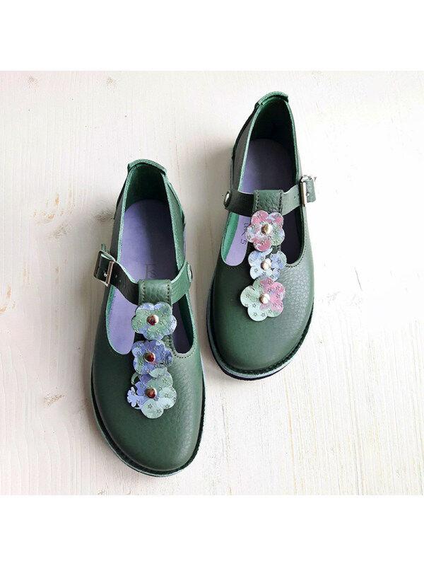 1 Women's belt buckle flower flat shoes