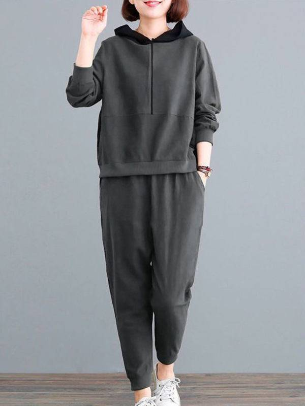 1 Casual Sports Suit Loose Two-piece Hoodie