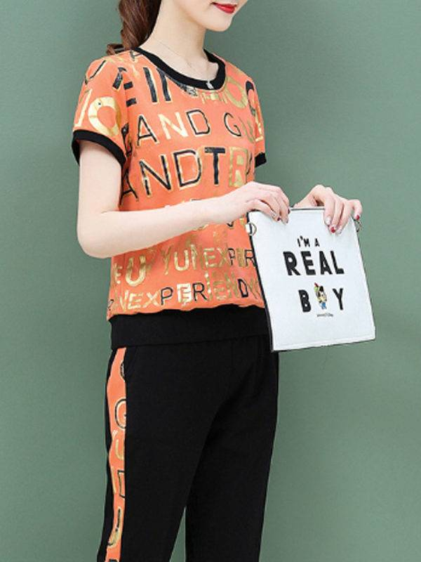 1 Fashion casual sports alphabet printing suit