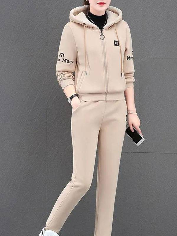 1 Two-piece Plus Velvet Thick Casual Sports Hooded Suit