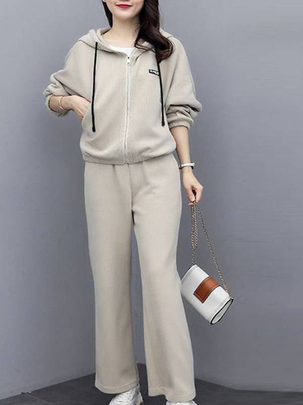 1 Fashion Leisure Plus Velvet Sports Loose Hooded Two-piece Suit