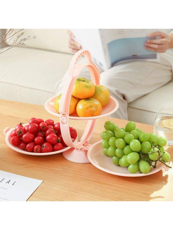 1 Nordic fruit plate creative modern living room household folding 3-layer fruit plate dessert table multi-layer pastry candy plate