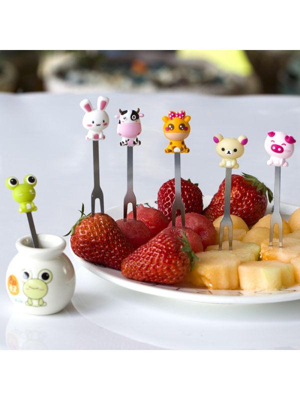 1 Cute Patterned Fruit Fork Spoon Cartoon Sculpture Stainless Steel Fruit Fork