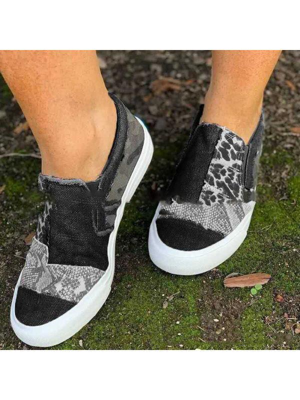 1 Casual Canvas Shoes Color Matching Lok Fu Single Shoes Women