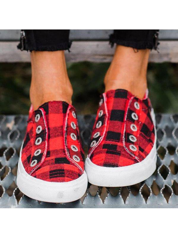 1 Four Seasons Flat Ladies Canvas Shoes Casual Plaid