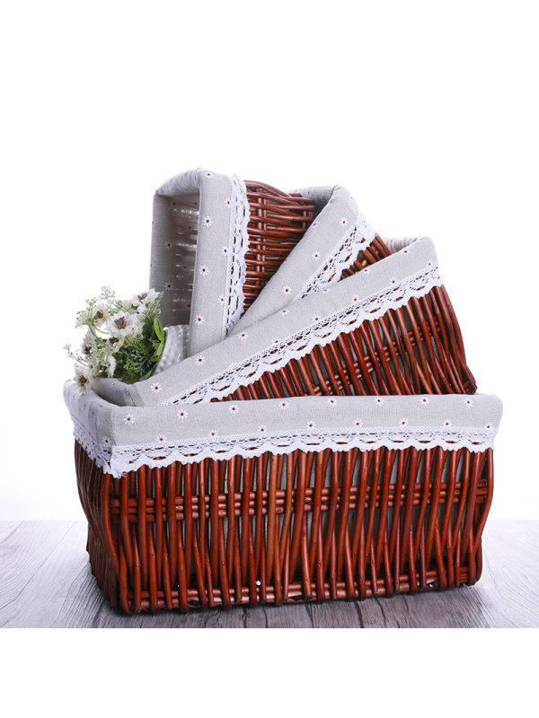 1 Wrapped Rattan Cosmetic Toy Storage Basket